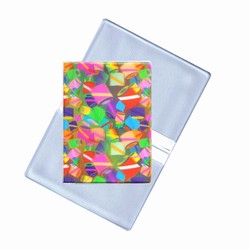 Lenticular business card holder with rainbow cylinders and drums, color changing