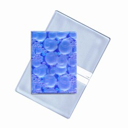 Lenticular business card holder with white bubbles on blue background, depth
