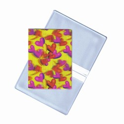 Lenticular business card holder with red and pink hearts, depth