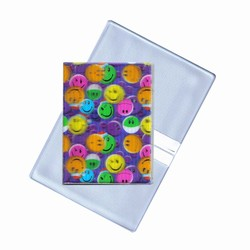 Lenticular business card holder with multi colored smiley faces, depth