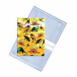 Lenticular business card holder with red green yellow dinosaurs, depth