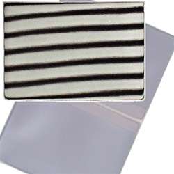 Lenticular business card holder with black and white stripes, animation