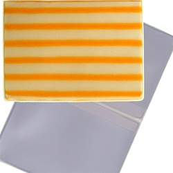 Lenticular business card holder with yellow and white stripes, animation