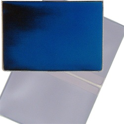 Lenticular business card holder with blue and black gradient, color changing