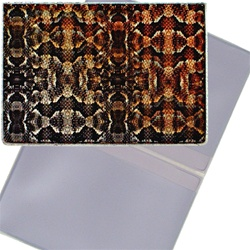 Lenticular business card holder with snake skin print, color changing