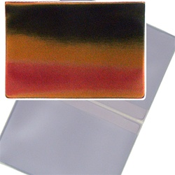 Lenticular business card holder with red, yellow, and black gradient, color changing