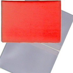 Lenticular business card holder with red and white gradient, color changing