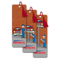 Lenticular bookmark with mechanic repairs car by raising and lowering hydraulic lift, animation