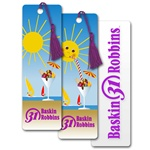 Lenticular bookmark with summer sun sipping fruit sundae out of martini glass on beach, flip
