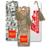 Lenticular bookmark with American paper currency to assorted coins, flip