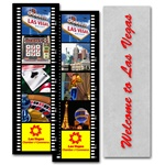 Lenticular bookmark with Las Vegas hotels, Hollywood film strip, flip