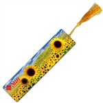 Lenticular bookmark with sunflowers growing in a spring field, depth