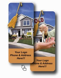 Lenticular bookmark with real estate realtor hands sold keys to buyer of house, flip