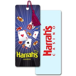Lenticular bookmark with Las Vegas casino cards, dice, and chips, depth