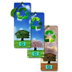 Lenticular bookmark with tree with changing seasons and recycling icon, flip