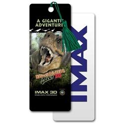 3D bookmark with Tyrannasaurous Rex dinosaur IMAx movie, depth