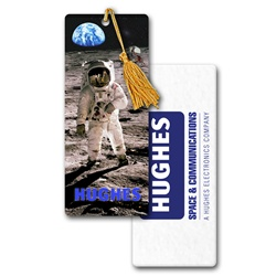 Lenticular bookmark with NASA astronaut walks on the Moon, depth