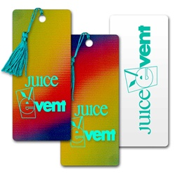 Lenticular bookmark with yellow, red, and blue, color changing
