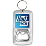 Lenticular acrylic bottle opener with Bud Ice beer, dark blue and light blue gradient, color changing