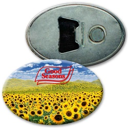 Lenticular magnetic bottle opener with bright yellow sunflowers blooming in an open field, depth