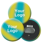 Lenticular magnetic bottle opener with yellow, blue, and green, color changing with