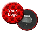 Lenticular magnetic bottle opener with red spinning wheels on white background, animation