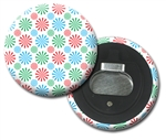 Lenticular magnetic bottle opener with red, blue, and green spinning wheels, animation