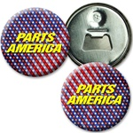 Lenticular magnetic bottle opener with USA flag stars and stripes, color changing flip