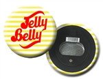 Lenticular magnetic bottle opener with yellow and white stripes, animation