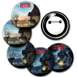 Lenticular button with custom design, haunted house turns into evil face, animation