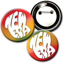 Lenticular button with yellow, red, and green, color changing