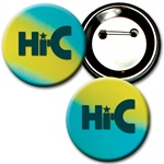 Lenticular button with yellow, blue, and green, color changing with
