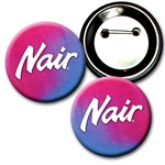 Lenticular 2 1/4 inch diameter button with red and blue gradient, color changing