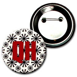 Lenticular button with black spinning wheels on white background, animation