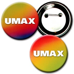 Lenticular Button - red, yellow, green, and black, color changing - 2 1/4-inch diameter
