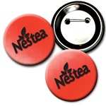 "Lenticular  2 ¼"" in diameter button with red and white gradient, color changing"