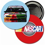 Lenticular button with custom design, NASCAR race car and logo, flip