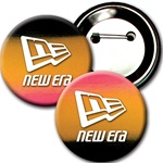 Lenticular button with red, yellow, and black gradient, color changing 3 inch diameter