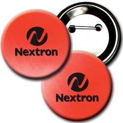 "Lenticular 3"" in diameter button with red and white gradient, color changing"