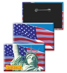 Lenticular button with Statue of Liberty and American flag, flip