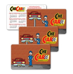 Lenticular calendar card with mechanic fixes car by raising and lowering on lift, animation