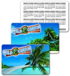 Lenticular calendar card with palm tree on tropical Hawaiian beach, flip