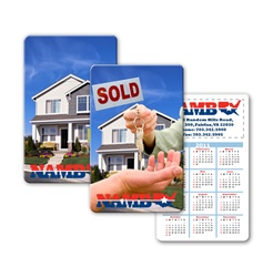 Lenticular calendar card with real estate realtor hands sold keys to buyer of house, flip