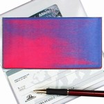 Lenticular checkbook cover with red and blue gradient, color changing