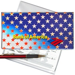 Lenticular checkbook cover with USA flag, stars, color changing flip