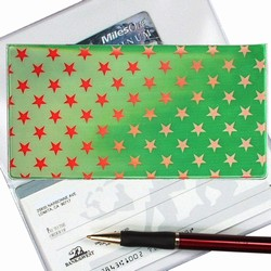 Lenticular checkbook cover with white and red stars on a green background, color changing flip