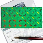 Lenticular checkbook cover with yellow, red, and green butterflies, color changing flip