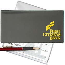 Lenticular checkbook cover with black and grey gradient, color changing