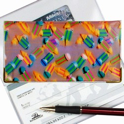 Lenticular checkbook cover with multicolored pencils on a pink and purple background, depth