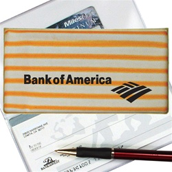 Lenticular checkbook cover with yellow and white stripes, animation